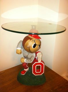 Ohio State University Buckeyes Glass Top Chair Side Table OSU Brutus RARE