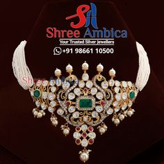 Extravagant Pearl choker with polkis and semi precious stones from Shree Ambica - Your Trusted Jewellers Readily available in stock Call/WhatsApp - +91986611050 #ShreeAmbica #silver #silverjewellery #trustedjewellery #choker #chokernecklace #brides #925silver #czjewellery #exclusivejewellery #elegantjewellery #trendingjewellery #classyjewellery #bridaljewellery #wedding #weddingjewellery #hyderabadshopping #southindianbride #southindianjewellery 925 Silver, Silver Jewelry, South Indian Bride, Pearl Choker, Jewellery Designs, Wedding Jewelry, Brides, Chokers, Stones