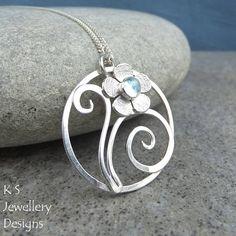 Blue Topaz Flower & Swirls Circle Sterling Silver Pendant - Handmade Metalwork Wirework Gemstone Necklace - Garden Themed Collection