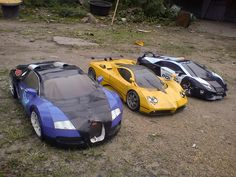 Bugatti Veyron, Pagani Zonda, Lamborghini Aventador DIY papercraft models built by Bayu Mahendra Putra of Indonesia. Get and build yours at http://visualspicer.com/store
