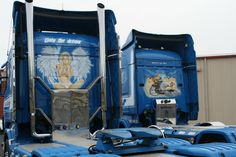 Scania murals 620 right 730 left V8s, Mainfreight, New Zealand, pinned by Ton van der Veer