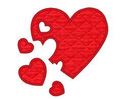 Magic valentine heart  puzzle  machine embroidery fill by artapli, $3.00