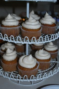 pumpkin muffins with salted caramel buttercream frosting