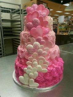 Multi layer pink ombre heart cake. LOVE the pink and the hearts!!