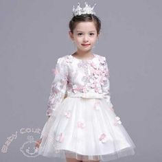 3D Creme Lovely Flowers Kids Autumn Dress