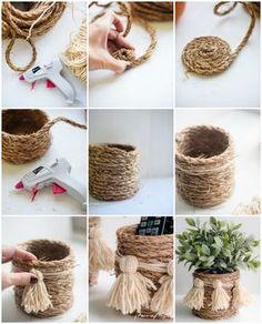 Manualidades con cuerda o hilo rústico       El hilo rústico, (cuerda, o ixtle) se puede usar en infinidad de formas que darán un toque sen...