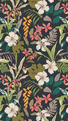 illustration Trendy wallpaper pattern floral tropical prints ideas Breaking t Trendy Wallpaper, Pretty Wallpapers, Aesthetic Iphone Wallpaper, Aesthetic Wallpapers, Wallpaper Backgrounds, Dark Wallpaper, Floral Wallpapers, Vintage Wallpapers, Simple Wallpapers
