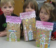 Paper bag gingerbread house!  Cute!