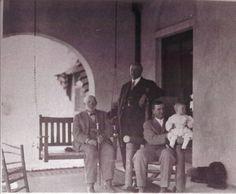 Sam Hughes, J. Knox Corbett (standing), and Hiram Corbett holding Knox Corbett, on porch of the Corbett House, circa 1912 Arizona History, Tucson Arizona, Old Buildings, Historical Pictures, Resorts, Art Museum, Porch, Genealogy
