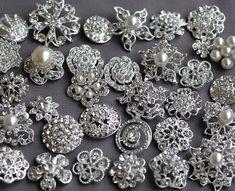 SALE 10 Assorted Rhinestone Button Brooch Embellishment LARGE Pearl Crystal Wedding Bouquet Cake Decoration US BT165. $10.98, via Etsy.