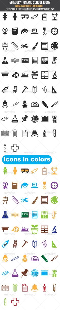 56 Education and School Icons — Transparent PNG #symbols #vectors • Available here → https://graphicriver.net/item/56-education-and-school-icons/5304647?ref=pxcr