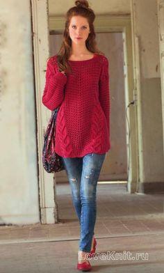Спицами пуловер оверсайз с косами фото к описанию