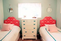 Hmmm...could I do this to the girls' dresser without being tsked for painting solid furniture? Girl Room, Girls Bedroom, Bedroom Stuff, Baby Room, Master Bedroom, Bedrooms, Girl Dresser, Diy Cutting Board, Small Rooms