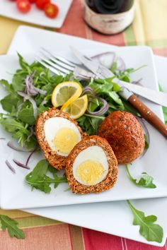 Scotch eggs, my friends, are absolutely genius.  G.E.N.I.U.S  Hey, we're talking protein wrapped in more protein, seriously!  What more could you ask for?  Why I'd never had them before now, I can't even begin to understand.