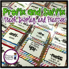 Prefix and Suffix Resource! •Use as part of your vocabulary or spelling instruction to introduce, guide, and support your students as they work to master this CCSS standard. •72 affix cards! Display them as you teach them or display them all at once to create an eye-catching bulletin board! •Use as a literacy center for students to practice constructing new words and determining meaning. Includes 42 root word cards and two student worksheet options for easy differentiation. $