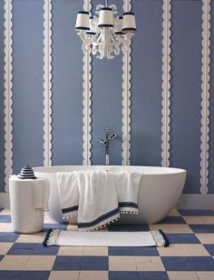 katrin Cagrill - fun blue & white bath, love her.
