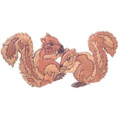 "Squirrels Plan Squirrel lovers will go """"nuts"""" over this intarsia piece! These two adorable squirrels will add to your home's decor! A must have for any squirrel lover! Squirrels Specifications Measu"