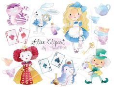 Cute Alice in Wonderland clipart : Instant Download PNG file