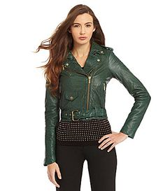 fb969cafdd5ae MICHAEL Michael Kors Cropped Leather Moto Jacket