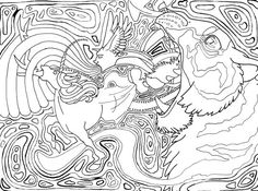 Surreal Tiger Coloring Page For Adults