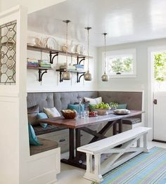 I would love to have a kitchen nook, and like how they did this one.