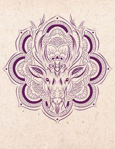mandala deer Art Print