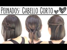 Peinados fáciles para cabello corto | Short hair hairstyles - YouTube