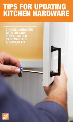When updating your hardware, make sure the new hardware is the same spread as the old hardware, so you don't have to make any new holes. Better yet, bring the old hardware with you to The Home Depot to make sure you get the measurement perfect the first time. Click-through for more tips on The Home Depot blog.