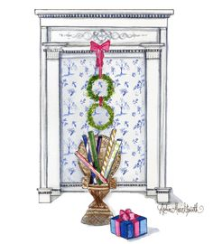 Christmas is upon us: Jingle Bells, Blue Toile, and Boxwood Wreaths! Lydia Marie Elizabeth Interior Design and Architectural Illustrations