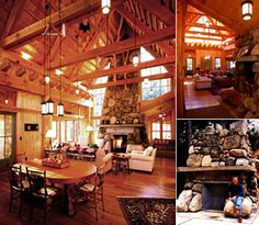 exposed beams and a stone fireplace = perfection