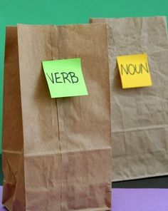 Activities: Play the Bag Game: Learn Parts of Speech - Cute way to design our own silly sentences game too!
