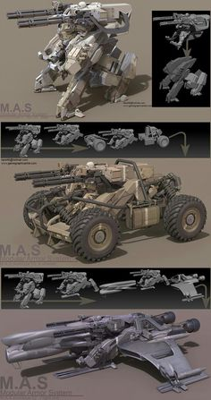 It's the concept art about M.S(Modular Armor System).They share the same main unit.Heavily inspired by MGS Rex and Ma.k Fledermaus. Cyberpunk, Robot Concept Art, Weapon Concept Art, Robot Design, Art Design, 3d Mode, Arte Robot, Future Weapons, Sci Fi Weapons