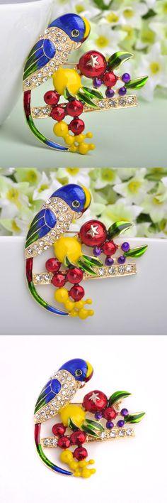 2016 Spring Enamel Brooch For Women Collares Birds Brooches Corsage Esmalte Unhas  Diamante Embellishments Kihen Wedding Broach