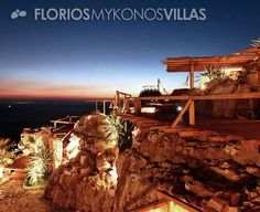 The incredible dining area outdoors invite guests to enjoy a romantic candle light dinner with bubbling champagne, as the sound of waves whispers in their ear. FMV1088 Villa for rent on Mykonos island Greece. http://florios-mykonos-villas.com/property/fmv1088/