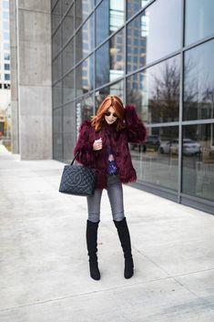 Faux Fur coat- Burgundy Faux Fur Coat- The Middle Page Faux Fur Coat