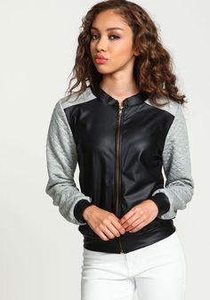 Grey Leatherette Quilted Bomber Jacket - Love Culture
