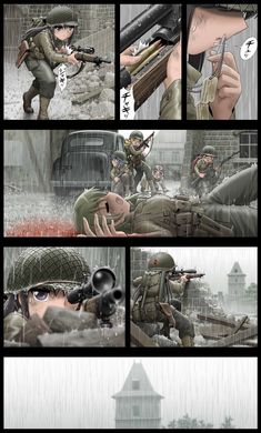 """Scene from """"Saving Private Ryan"""" turns out to make a very good anime with all female soldiers Anime Art Girl, Manga Art, Manga Anime, Anime Military, Military Art, Guerra Anime, Anime Warrior, Madoka Magica, Anime Fantasy"""