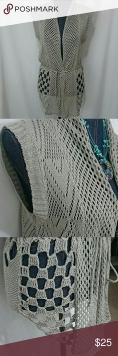 Knit & Crochet Star Vest Boho Festival Hippie Cute lightweight gray vest is knit and crocheted with 65% cotton and 35% acrylic.  Super stretchy, perfect to wear over a sundress, tank, with shorts or jeans. Beautiful star design. Very unusual!  Has belt too! Shoreline Jackets & Coats Vests