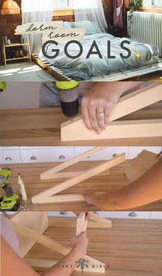 Dorm room goals! Love this DIY Step Ladder Side Table! Follow us for more DIY!