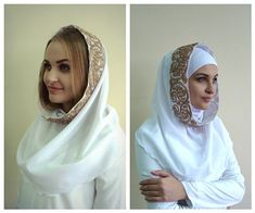 Infinity white scarf Chiffon, White hijab, Wedding hijab,Wedding veil, Hijab set, stone hijab,Ready to wear hijab,Scarf Handmade,nikah
