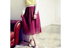 Vogue Accordion Pleated Tiered Hem Skirt