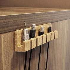 Wooden cable and charger Organizer cable management- Hölzerner Kabel und Ladegerät Organisator- Kabelmanagement Wood cable and charger by BatelierHandicraft on Etsy -