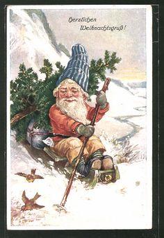 Onlineshop für Alte Ansichtskarten. Ansichtskarten von Ansichtskarten > Motive / Thematik > Glückwunsch & Kitsch (sortiert nach Anlaß und Motiv) > Zwerge: AK Weihnachtsgruß!, Zwerg mit Schlitten. Alte Ansichtskarte Nummer: 7937598. Ihre Sicherheit beim Kaufen: Uneingeschränktes Widerrufsrecht. Vintage Christmas Cards, Diy Christmas Gifts, Vintage Cards, Christmas Images, Vintage Images, Gnome Pictures, Kitsch, Dashing Through The Snow, Kobold