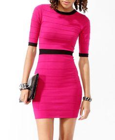 Magenta 3/4 Sleeve Bandage Dress, $24.80, forever21.com