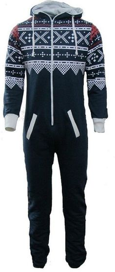 UNISEX MENS WOMENS AZTEC PRINT ONESIE ZIP UP ALL IN ONE HOODED JUMPSUIT S M L XL (SMALL, Black)