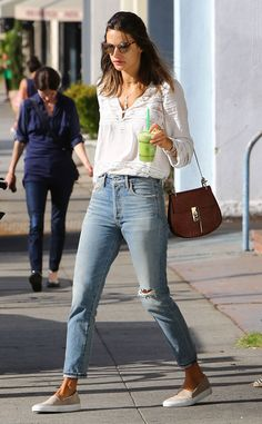 Alessandra Ambrosio from The Big Picture: Today's Hot Pics The model stops for a green drink in Santa Monica looking cool and casual.