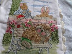 Shop for on Etsy, the place to express your creativity through the buying and selling of handmade and vintage goods. Garden Animals, Cross Stitch Pictures, Rabbits, Handmade Crafts, Hedgehog, Bench, Reusable Tote Bags, Creative, Wall