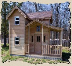 The Mini Country Cottage outdoor playhouse features a vaulted entry with a railed overlook from the second floor, a fireplace, and lots of room inside Outside Playhouse, Build A Playhouse, Playhouse Outdoor, Wooden Playhouse, Outdoor Sheds, Childrens Playhouse, Types Of Planning, Shed Plans, Building Plans