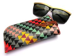 Sunglasses case / eyeglasses case geometric triangles design #lifeinstyle #greenwithenvy
