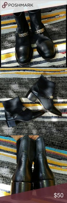 Brighton Ankle Boots Black Brighton ankle boots with leather and stretch fabric, leather soles, and chunky heel. Great condition. Brighton Shoes Ankle Boots & Booties